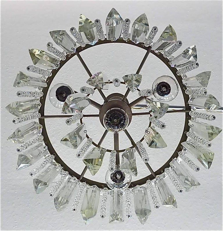 Mid-20th Century Precious Bakalowits or Lobmeyr Faceted Crystal Glass Chandelier, Austria, 1950s For Sale