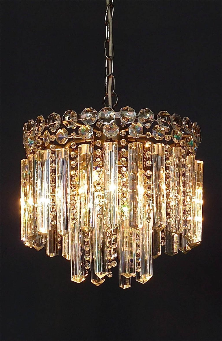 Chrome Precious Bakalowits or Lobmeyr Faceted Crystal Glass Chandelier, Austria, 1950s For Sale