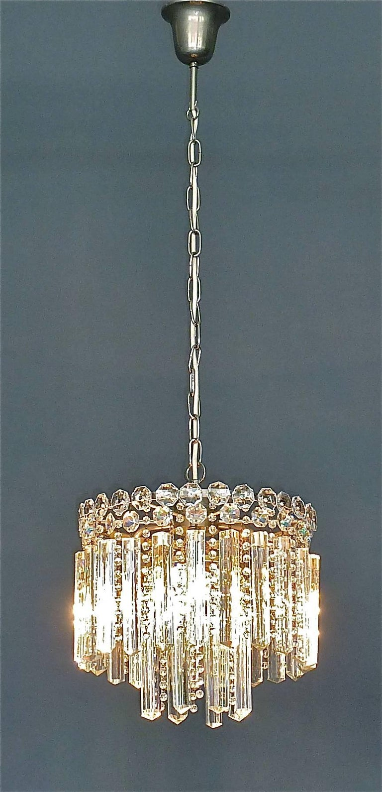 Precious Bakalowits or Lobmeyr Faceted Crystal Glass Chandelier, Austria, 1950s For Sale 3
