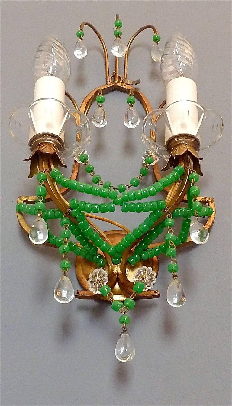Floral Metal Wall Sconces : Pair of Italian Gilt Metal Crystal Glass Floral Wall Sconces Jade Green Murano For Sale at 1stdibs