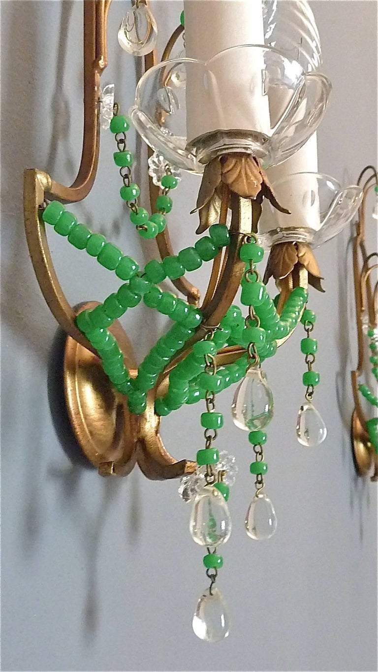 Glass Wall Sconces For Flowers : Pair of Italian Gilt Metal Crystal Glass Floral Wall Sconces Jade Green Murano For Sale at 1stdibs