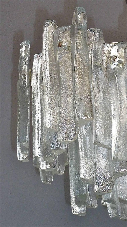 Mid-Century Modern Kalmar Flush Mount Chandelier Wavy Frosted Ice Glass Nickeled Sputnik, 1960s For Sale