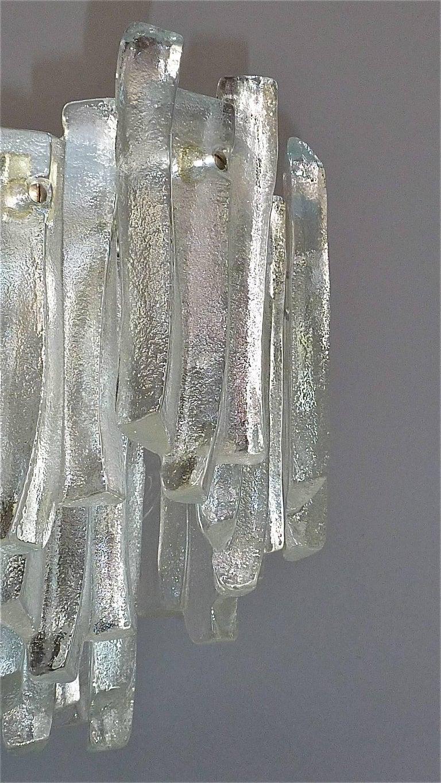 German Kalmar Flush Mount Chandelier Wavy Frosted Ice Glass Nickeled Sputnik, 1960s For Sale