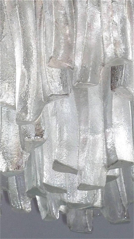 Kalmar Flush Mount Chandelier Wavy Frosted Ice Glass Nickeled Sputnik, 1960s In Good Condition For Sale In Nierstein am Rhein, DE