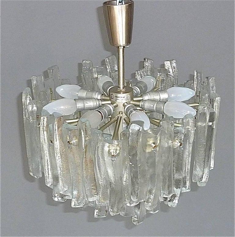Mid-20th Century Kalmar Flush Mount Chandelier Wavy Frosted Ice Glass Nickeled Sputnik, 1960s For Sale
