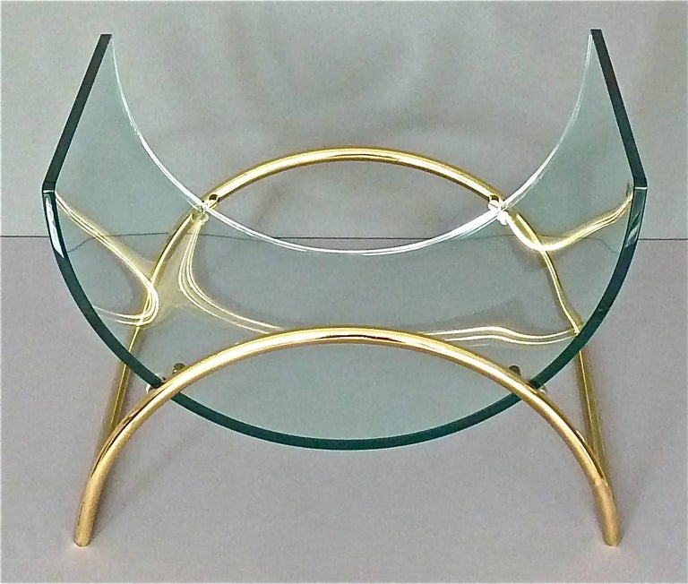 Chic Magazine Rack Stand Curved Glass Brass Lyre Shape
