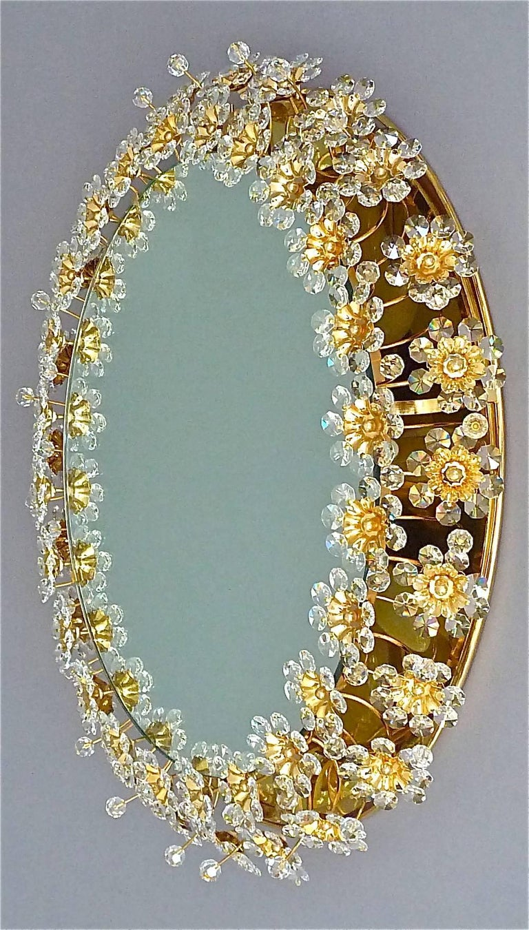 Polished Round Gilt Faceted Crystal Glass Flower Backlit Mirror by Palwa, Germany For Sale