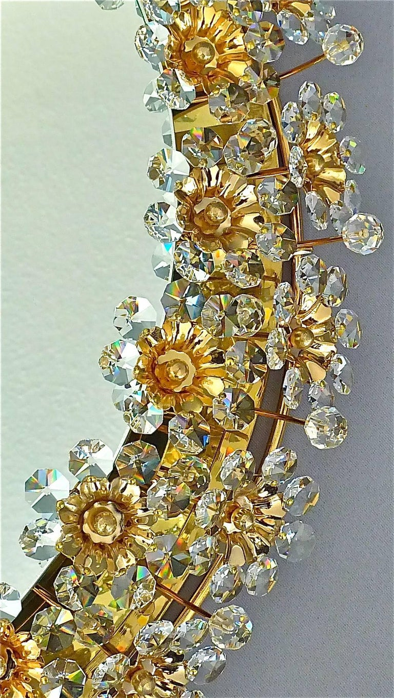 Mid-20th Century Round Gilt Faceted Crystal Glass Flower Backlit Mirror by Palwa, Germany For Sale
