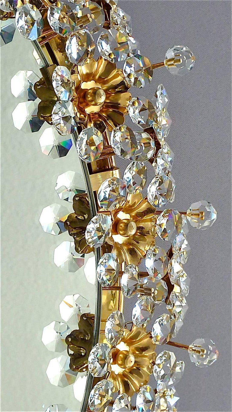 Metal Round Gilt Faceted Crystal Glass Flower Backlit Mirror by Palwa, Germany For Sale