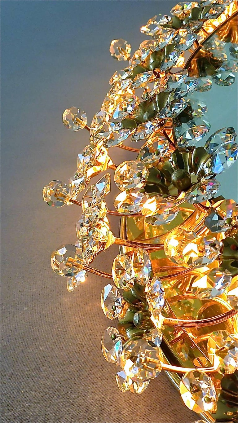 Round Gilt Faceted Crystal Glass Flower Backlit Mirror by Palwa, Germany For Sale 1