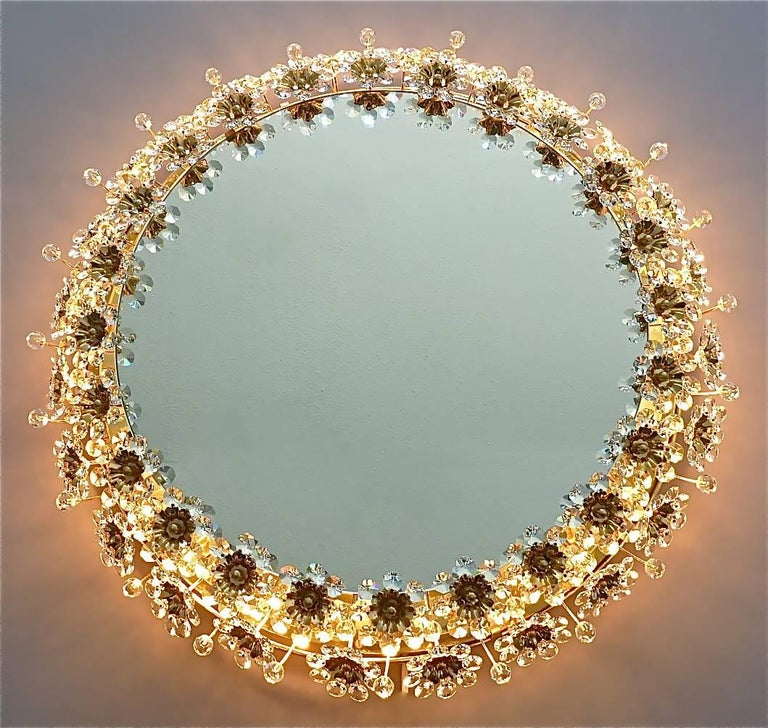 Round Gilt Faceted Crystal Glass Flower Backlit Mirror by Palwa, Germany For Sale 2