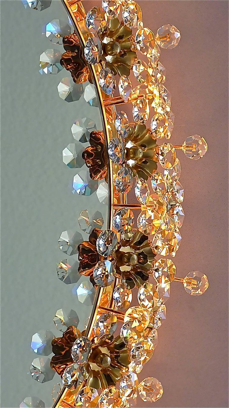 Round Gilt Faceted Crystal Glass Flower Backlit Mirror by Palwa, Germany For Sale 3