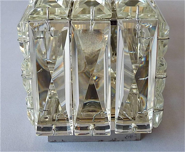 Faceted Large Crystal Glass Wall Light or Vanity Sconce by Bakalowits 1950s For Sale at 1stdibs