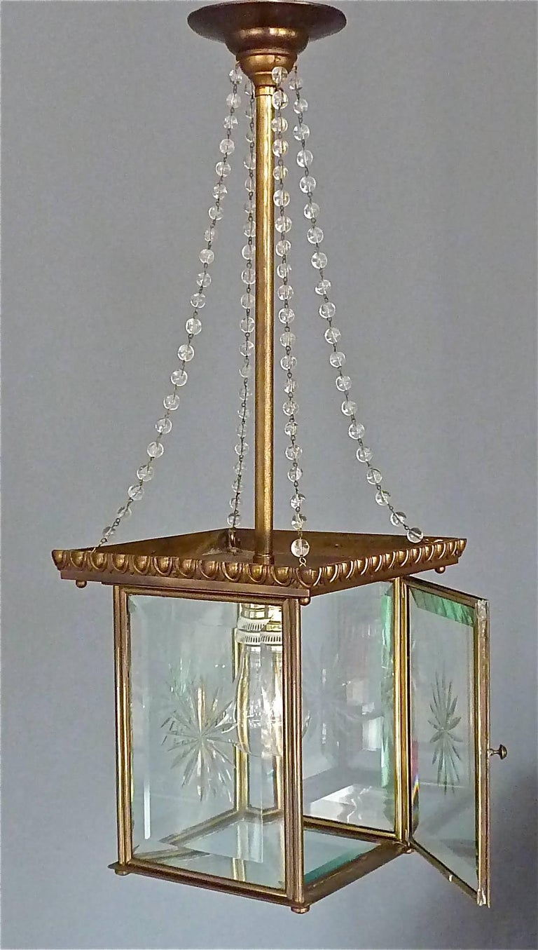 Early 20th Century Signed Austrian Secession Lamp Art Nouveau Lantern Brass Beveled Glass Pearls For Sale