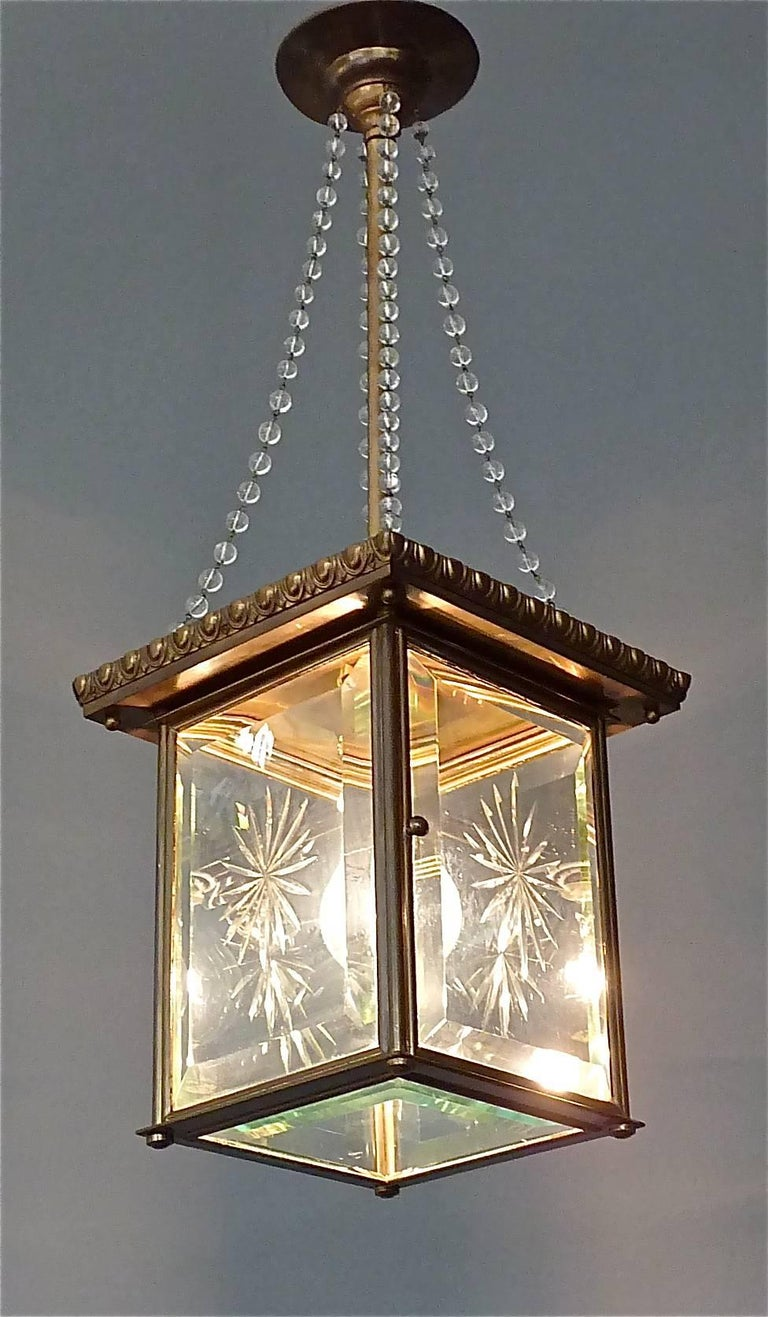 Signed Austrian Secession Lamp Art Nouveau Lantern Brass Beveled Glass Pearls For Sale 4