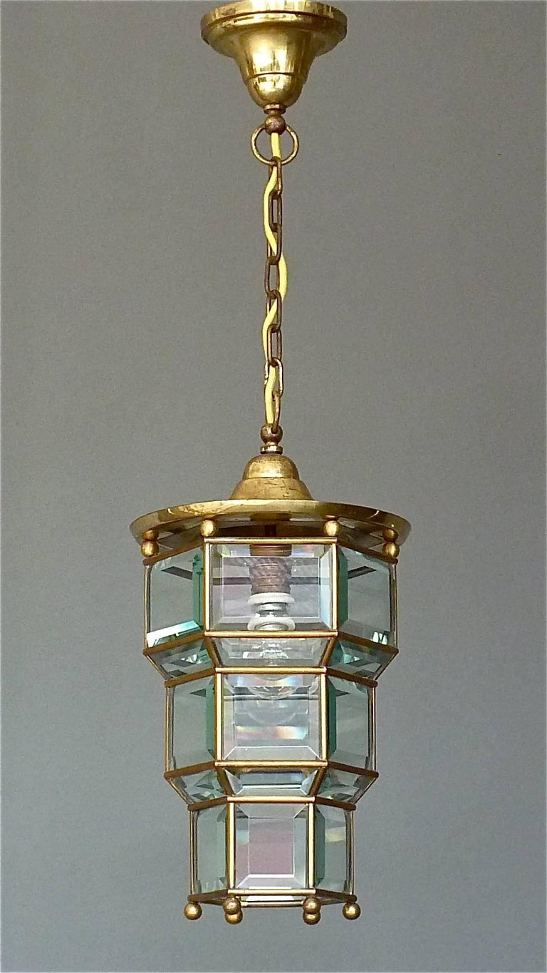 Great adolf loos lobmeyr style light beveled glass patinated brass vienna 1910