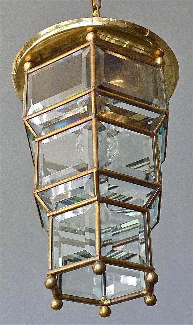 Austrian Great Adolf Loos Lobmeyr Style Light Beveled Glass Patinated Brass Vienna, 1910 For Sale