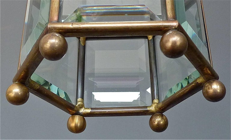 Metal Great Adolf Loos Lobmeyr Style Light Beveled Glass Patinated Brass Vienna, 1910 For Sale