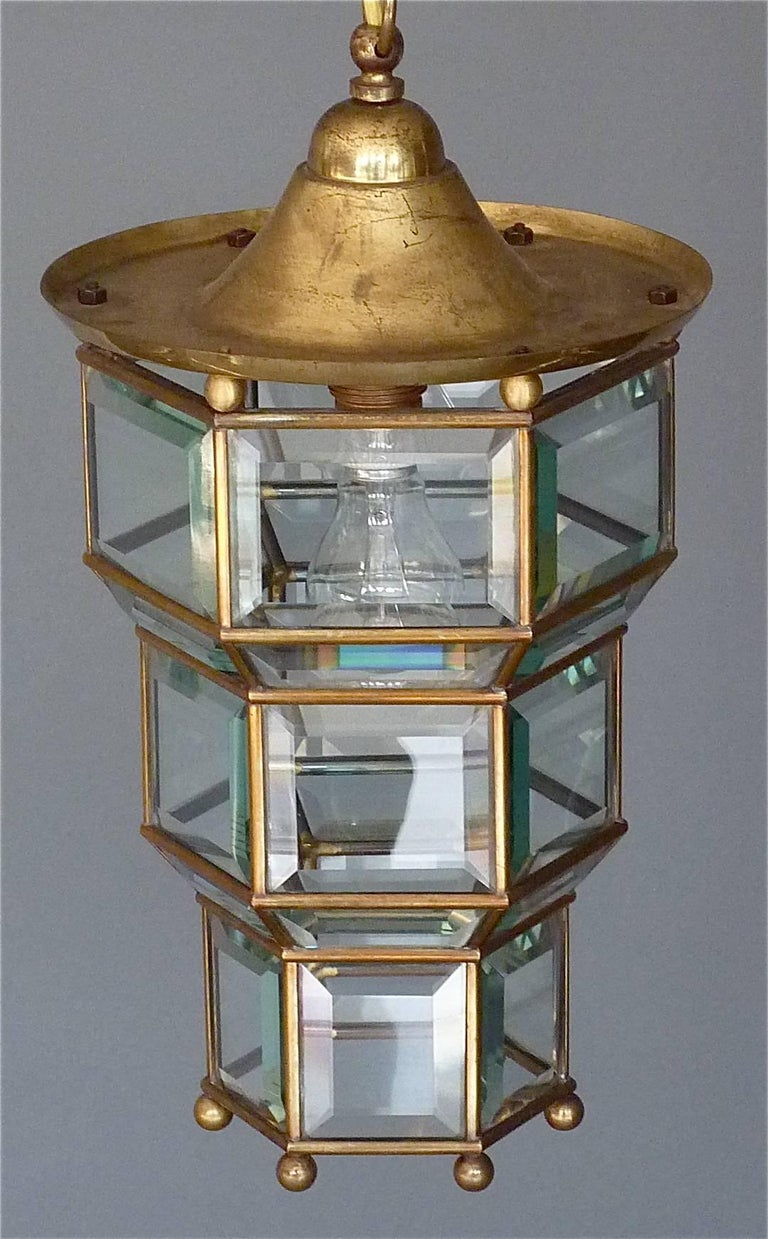 Great Adolf Loos Lobmeyr Style Light Beveled Glass Patinated Brass Vienna, 1910 For Sale 1