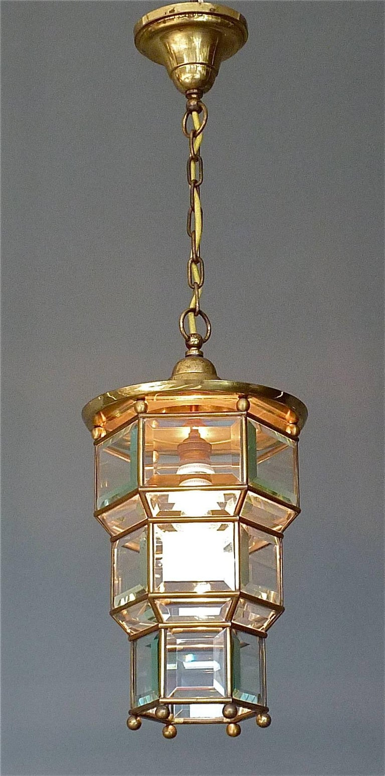 Great Adolf Loos Lobmeyr Style Light Beveled Glass Patinated Brass Vienna, 1910 For Sale 2