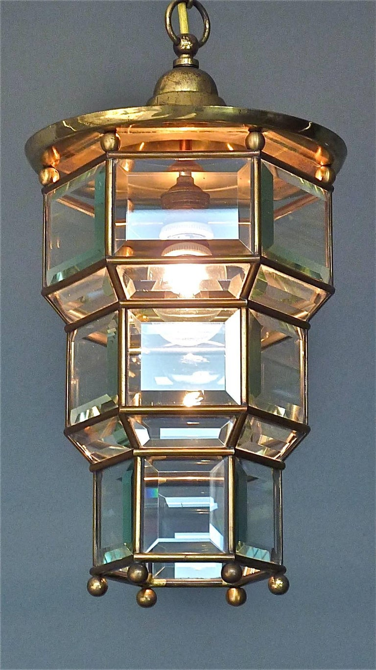 Great Adolf Loos Lobmeyr Style Light Beveled Glass Patinated Brass Vienna, 1910 For Sale 3