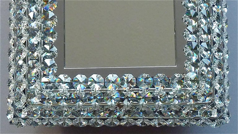 Mid-Century Modern Great Sparkling Palwa Backlit Mirror Chrome Brass Faceted Crystal Glass 1970s For Sale