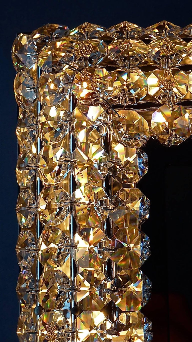 Beveled Great Sparkling Palwa Backlit Mirror Chrome Brass Faceted Crystal Glass 1970s For Sale