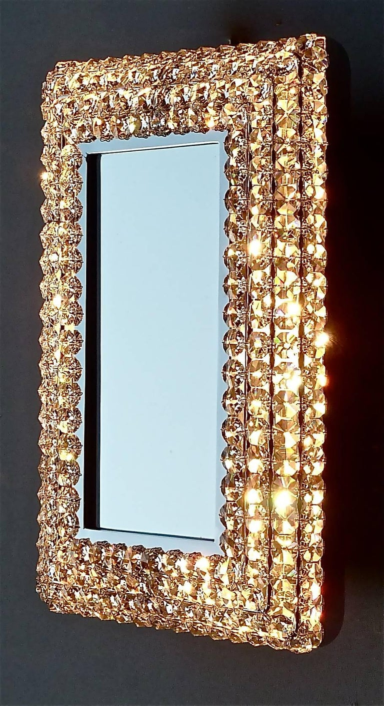 Mid-20th Century Great Sparkling Palwa Backlit Mirror Chrome Brass Faceted Crystal Glass 1970s For Sale