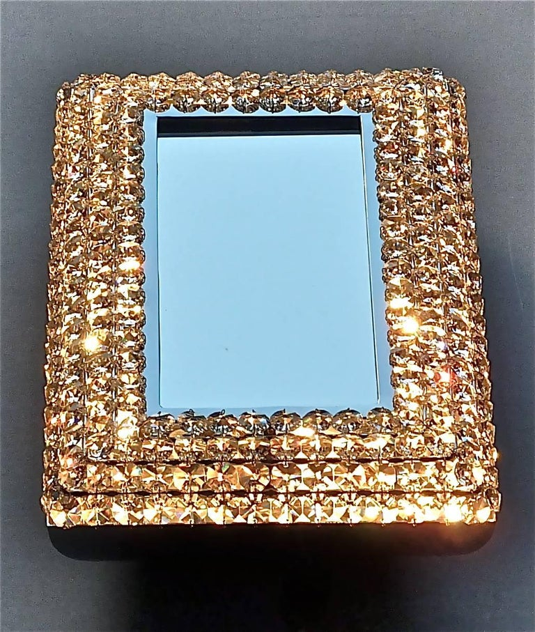 Great Sparkling Palwa Backlit Mirror Chrome Brass Faceted Crystal Glass 1970s For Sale 1
