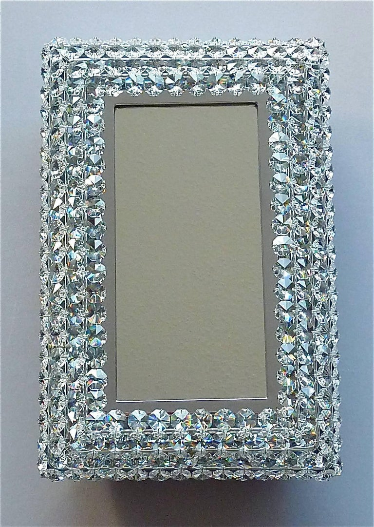 Great Sparkling Palwa Backlit Mirror Chrome Brass Faceted Crystal Glass 1970s For Sale 3