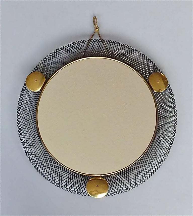 Mid-Century Modern Round Black Midcentury Wall Mirror Brass Stretched Metal 1955 Mategot Biny Style For Sale