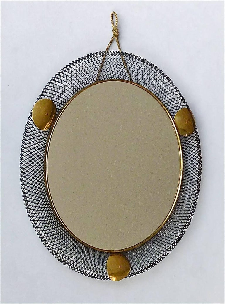 French Round Black Midcentury Wall Mirror Brass Stretched Metal 1955 Mategot Biny Style For Sale