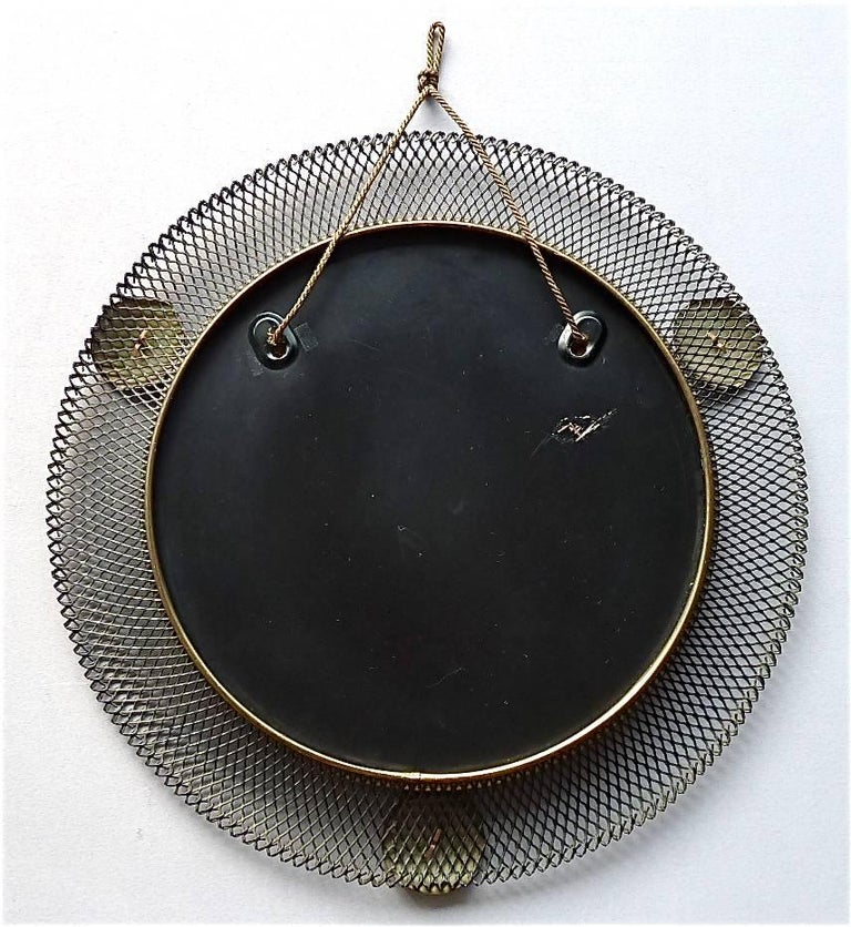 Mid-20th Century Round Black Midcentury Wall Mirror Brass Stretched Metal 1955 Mategot Biny Style For Sale