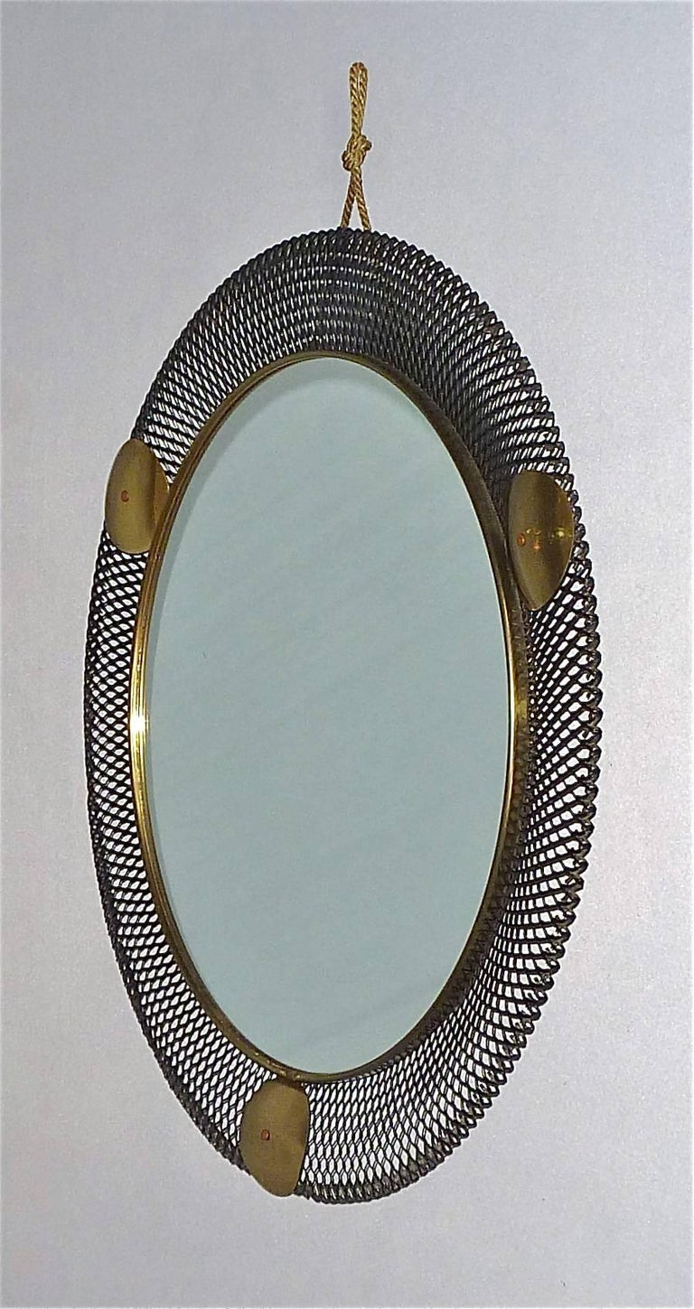 Round Black Midcentury Wall Mirror Brass Stretched Metal 1955 Mategot Biny Style For Sale 1