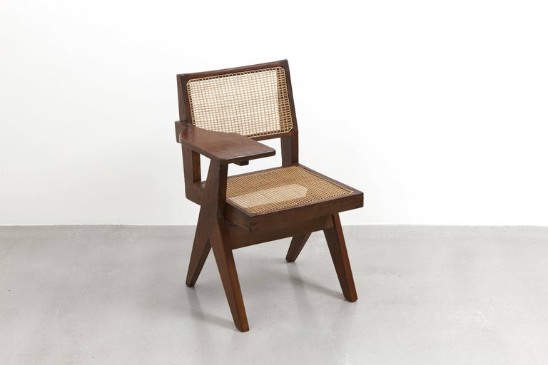 Wicker Pierre Jeanneret, Writing Chair, circa 1960 For Sale