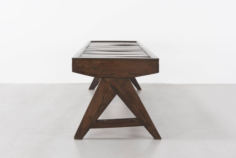 Pierre Jeanneret, Bench with Slats, circa 1955-1956 4
