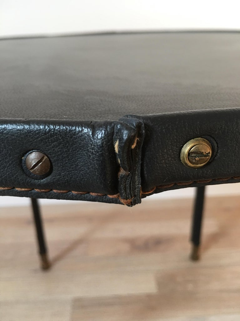 Bronze Jacques Adnet Style Black Stitched Leather Round Side Table, 1950s, French For Sale