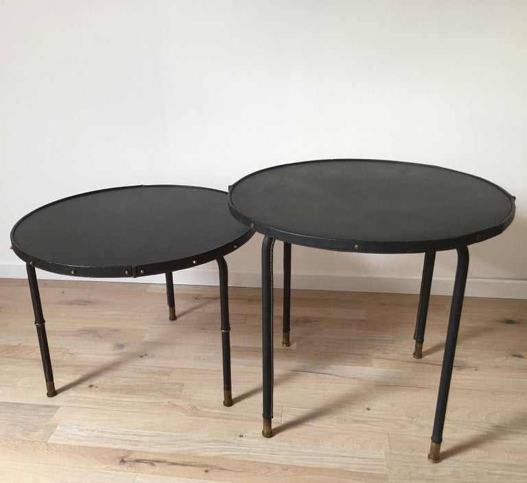 Jacques Adnet Style Black Stitched Leather Round Side Table, 1950s, French For Sale 10