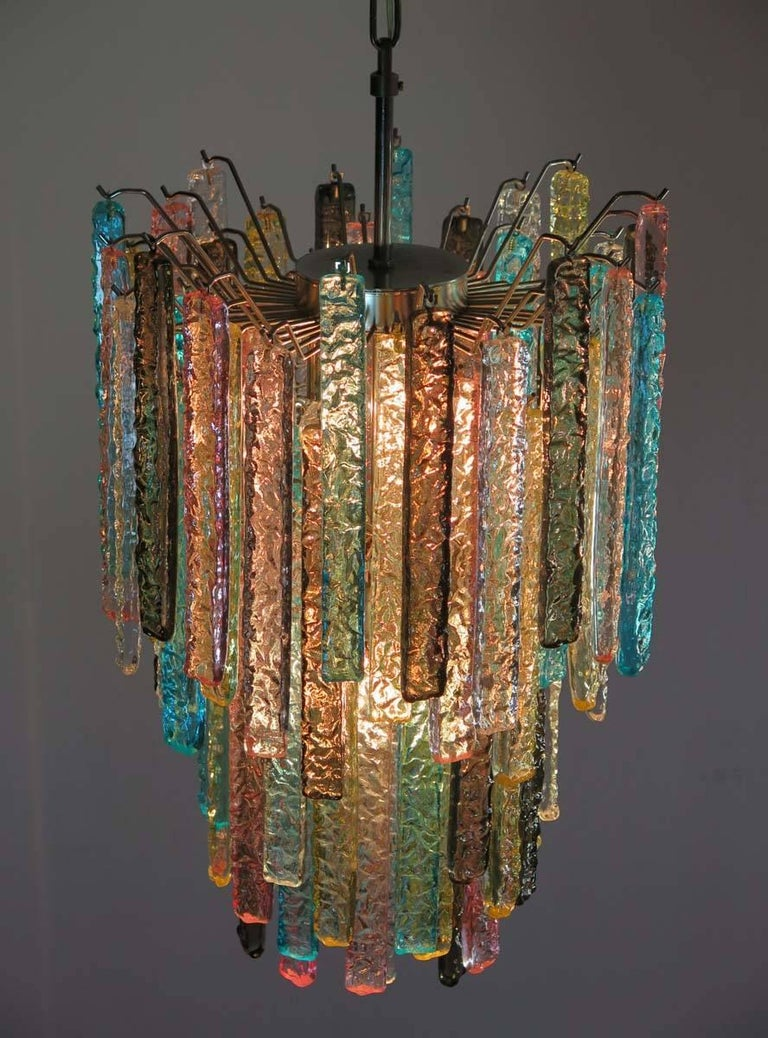 Huge Murano Chandelier Multi Color 84 Prism In Venini