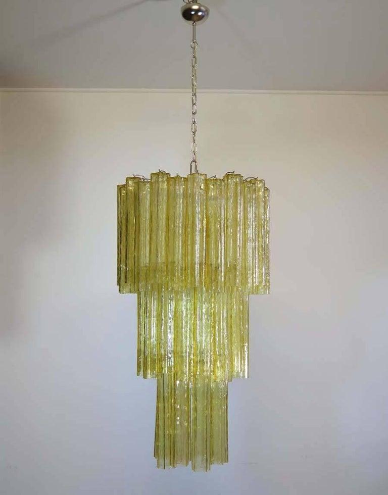 Mid-20th Century Huge Three-Tier Venini Murano Glass Tube Chandelier in Venini Style For Sale