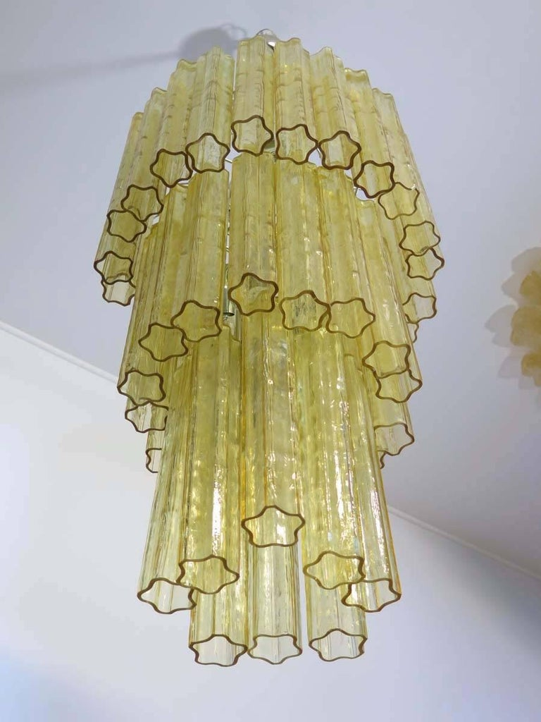 Mid-Century Modern Huge Three-Tier Venini Murano Glass Tube Chandelier in Venini Style For Sale