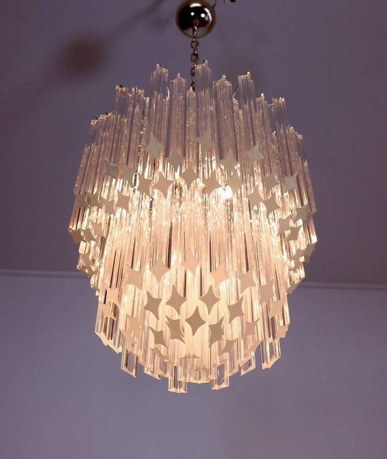Blown Glass Murano Big Chandelier Venini Style 107 Transparent Prism Quadriedri Elena Mo For Sale