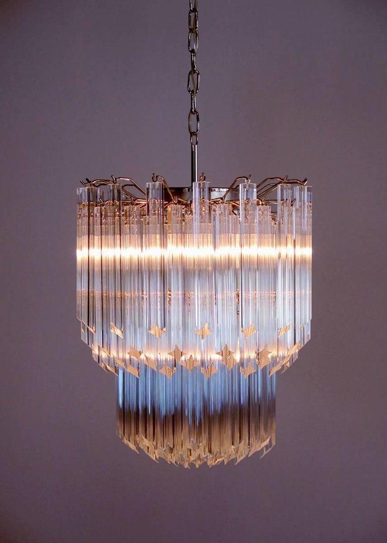Italian Murano Big Chandelier Venini Style 107 Transparent Prism Quadriedri Elena Mo For Sale