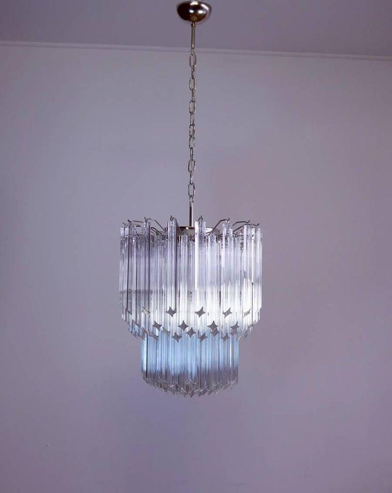 Mid-Century Modern Murano Big Chandelier Venini Style 107 Transparent Prism Quadriedri Elena Mo For Sale