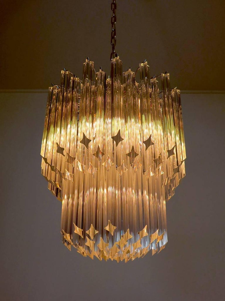 Late 20th Century Murano Big Chandelier Venini Style 107 Transparent Prism Quadriedri Elena Mo For Sale