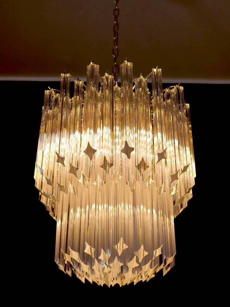 Murano Big Chandelier Venini Style 107 Transparent Prism Quadriedri Elena Mo For Sale 1