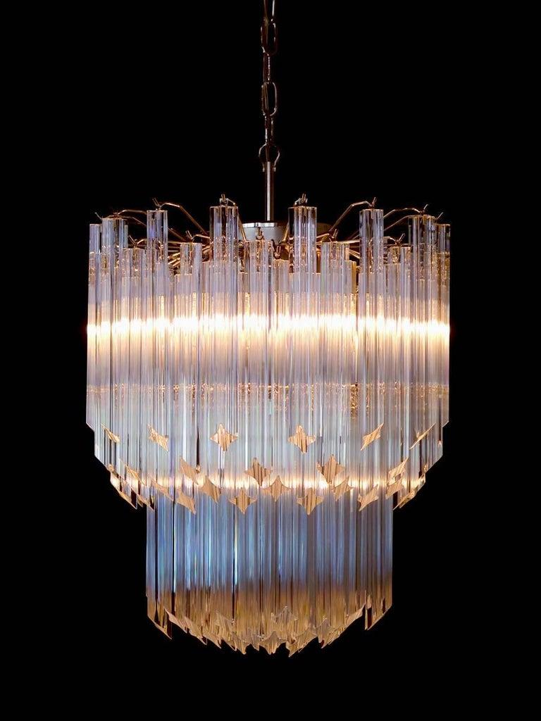 Murano Big Chandelier Venini Style 107 Transparent Prism Quadriedri Elena Mo For Sale 2