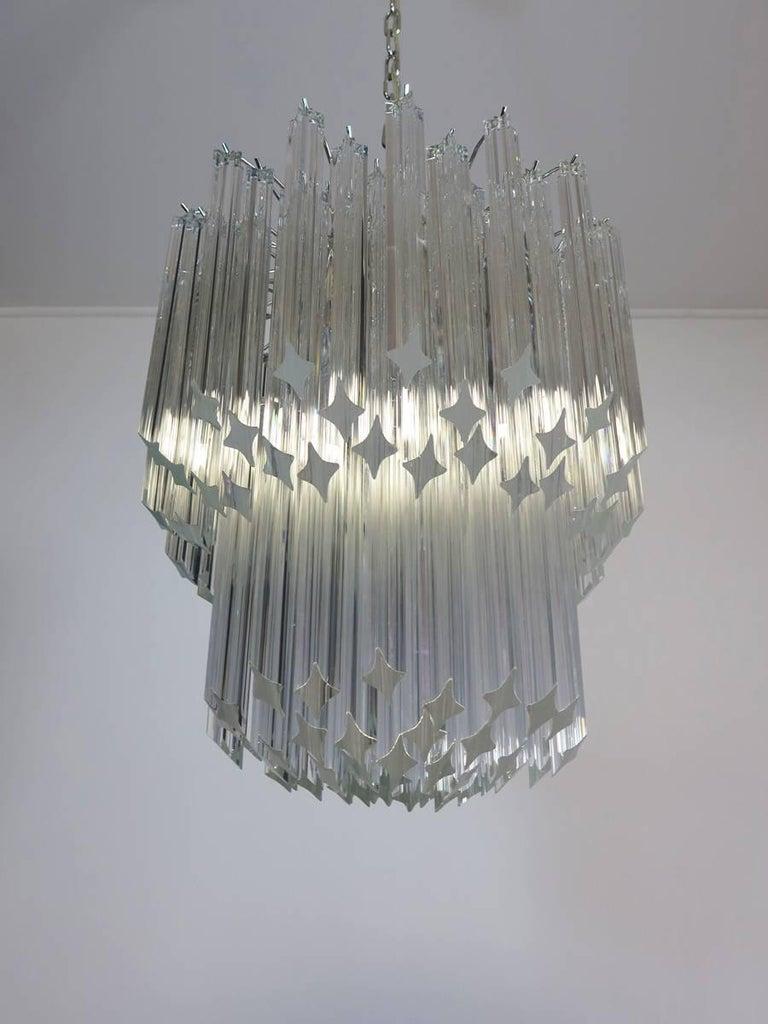 Murano Big Chandelier Venini Style 107 Transparent Prism Quadriedri Elena Mo For Sale 3