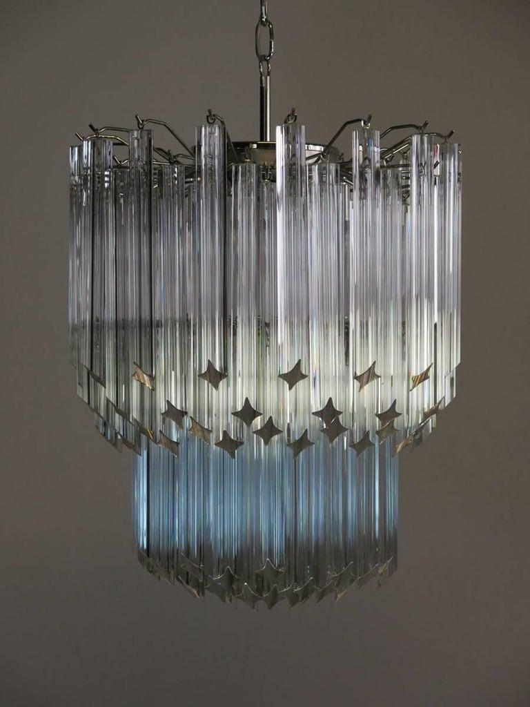 Murano Big Chandelier Venini Style 107 Transparent Prism Quadriedri Elena Mo For Sale 5