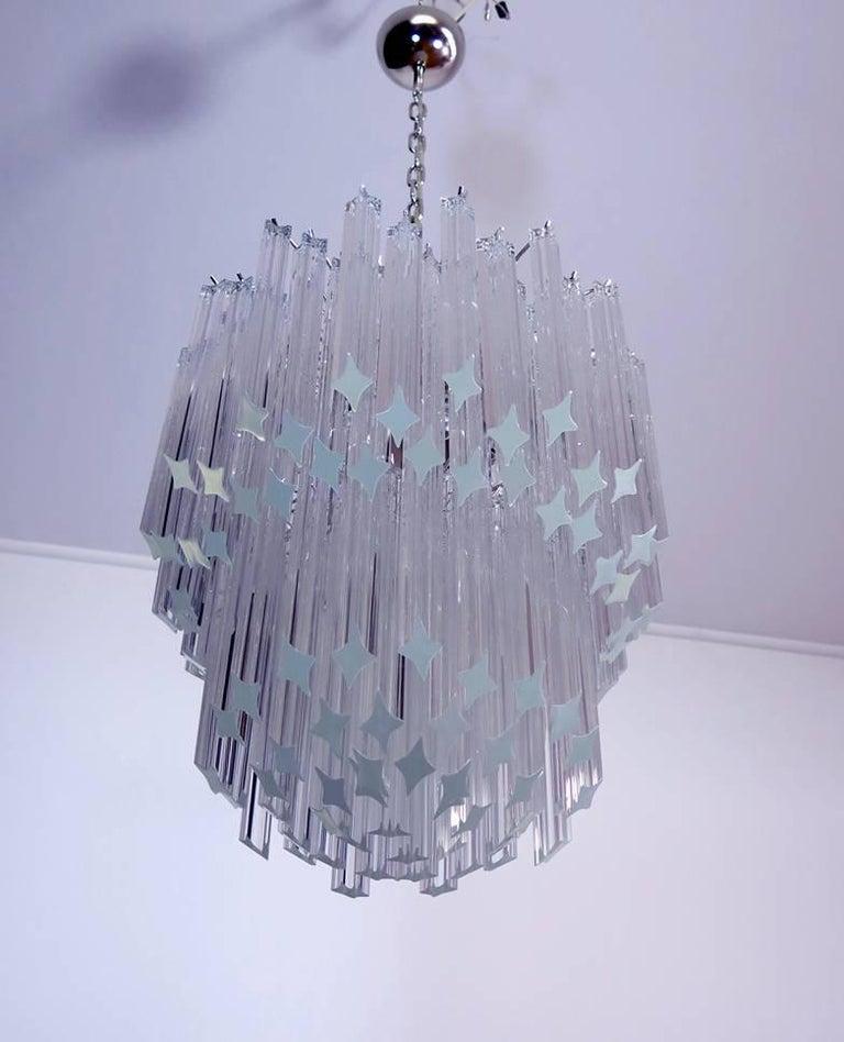 Murano Big Chandelier Venini Style 107 Transparent Prism Quadriedri Elena Mo For Sale 4